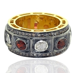 Vintage Style Wedding Rings 2.2 Rose Cut Natural Certified Diamond Ruby 925 Sterling Silver Special Occasion